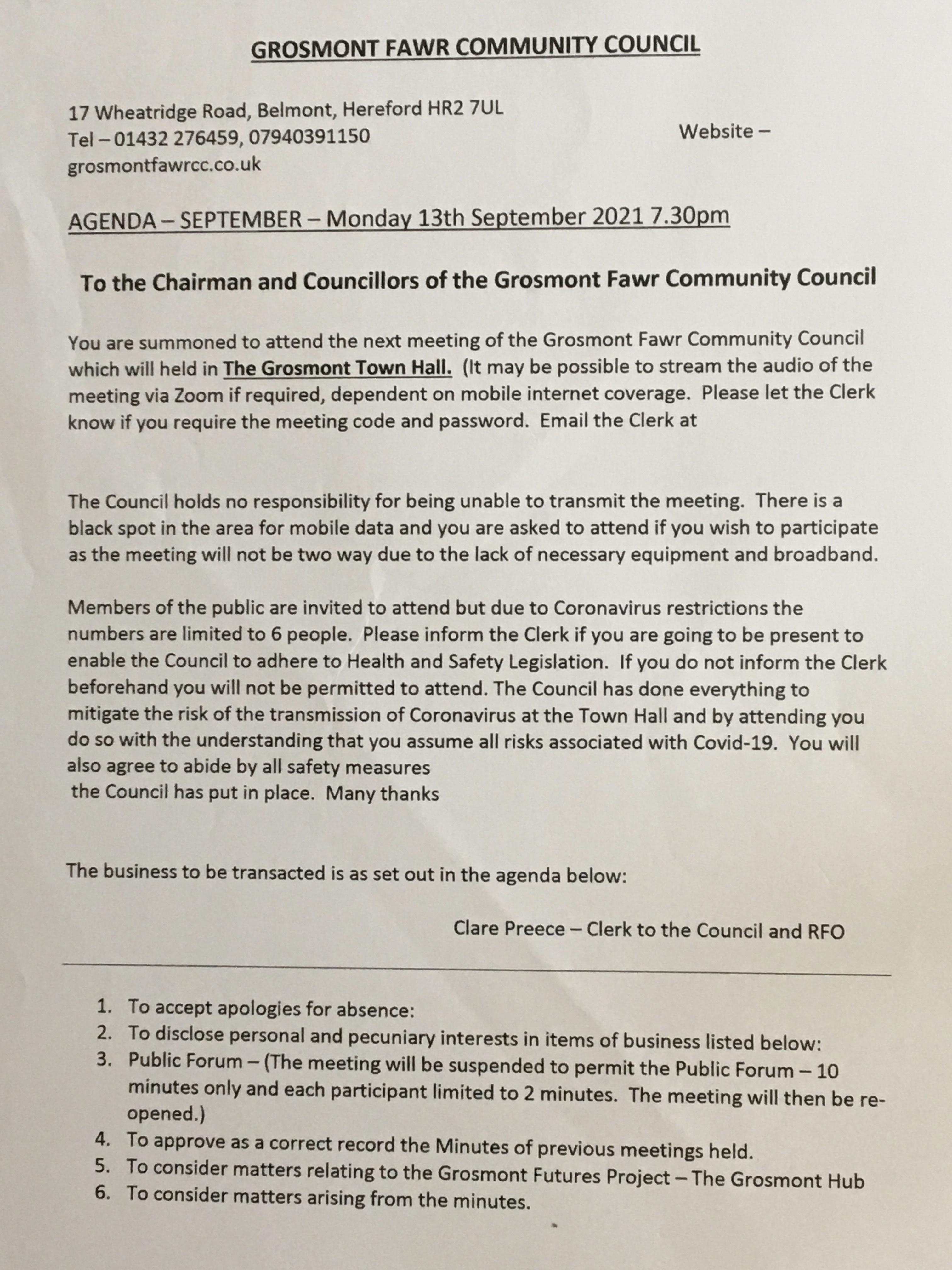 Agenda 13 September